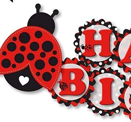 Personalized Ladybug Birthday Party Banner for Girl - Optional Decorations Invitations, Sign, Favor Tags, Thank You Cards - Handmade in the USA - Handmade in USA - - Birthday Banner Personalized Ladybugs
