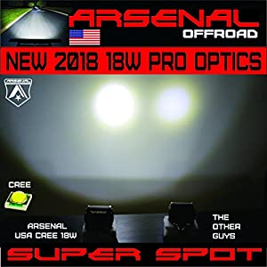 "2x 4"" Arsenal 18W 6 CREE LED Brightest on the Market! SUV Off-road Boat Headlight Spot Driving Fog Light + Mounting Bracket"
