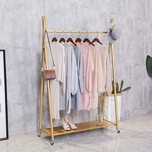 "FURVOKIA Modern Simple Heavy Duty Metal Rolling Garment Rack with Wheel,Retail Display Clothing Rack,Iron Floor-Standing Shoes Bags Clothes Organizer Storage Shelves (Gold, 47.2"" L)"