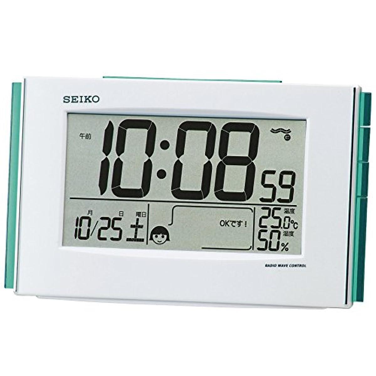 [해외] 세이코 clock 자명종 쾌적 사운드NAVI 전파 디지털 캘린더 온도 습도 표범시화이트 펄 SQ776W SEIKO