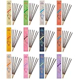 Tiger54 Variety Pack of Herbal Incense sticks with Essential Oils, Pack of 12, Total Burning Time - 90 Hours (Marigold, Vanila,Night Queen, Lotus, Lavender And Others)
