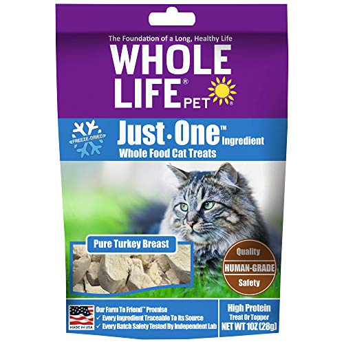 Whole Life Pet Healthy Turkey Cat Treats , Human-Grade Whole Turkey Breast, Protein Rich for Training, Picky Eaters, Digestion, Weight Control, Made in the USA, 1 Ounce