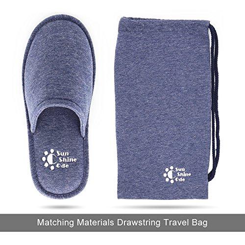 Heren 4 Seizoenen Katoenen, Wasbare Slippers Met Bijpassende Reistas Voor Thuis Hotel Spa Slaapkamer Marine