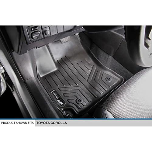 SMARTLINER Floor Mats 2 Row Liner Set Black for 2017 Jeep Patriot with 1st Row Dual Driver Side Floor Hooks