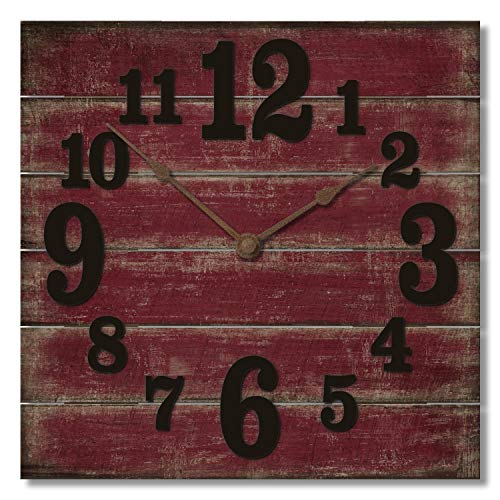 Amazoncom Highland Graphics 12 Rustic Red Wall Clock Made In Usa