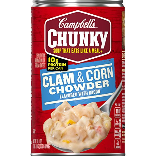 - Campbell's Chunky Clam & Corn Chowder with Bacon, 18.8 oz. Can (Pack of 12)