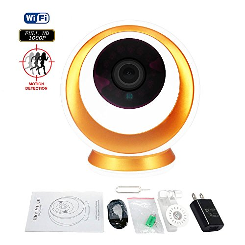 Wireless IP Camera with Night Vision Two-Way Audio 2.4GHz WiFi and Real 1080P FHD Motion Detect Video Surveillance Camera 355 Degree Horizontal Rotate for Baby/Elder/Pet/Nanny Remote Monitoring (Motion Detect Audio Video)