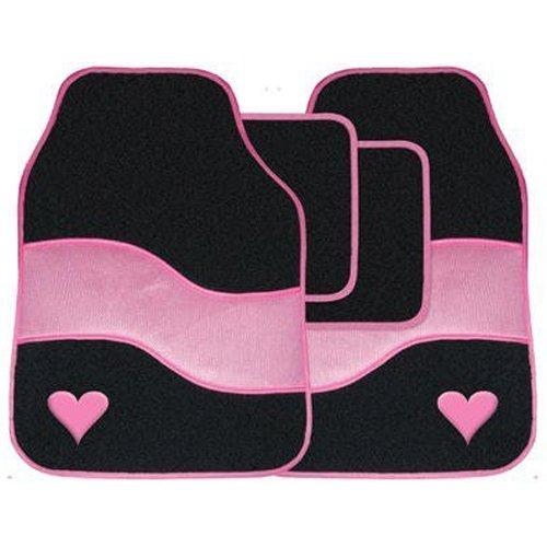 4PC Velour auto tappetino tappeto vano piedi insieme con colorata associazione dettaglio & motivo di cuore - rosa Streetwize car Accessories SWTP10