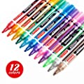 ZEYAR Glitter Paint Pens, Water-Based, Medium Point,12 Assorted Beautiful Colors, Great for Greeting and Gift Cards, Acid Free, Non-Toxic and Safe, Professional Paint Marker Manufacturer