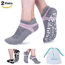 Non Slip Yoga Socks for Women, Toeless Anti-skid Grip Pilates, Barre, Ballet, Bikram Workout Socks with Cotton
