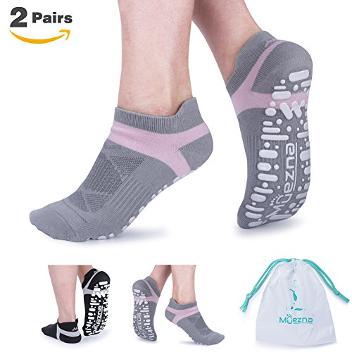 Muezna Non Slip Yoga Socks for Women, Anti-Skid Pilates, Barre, Bikram Fitness Socks with Grips, Size 5-10 (Black Gray)