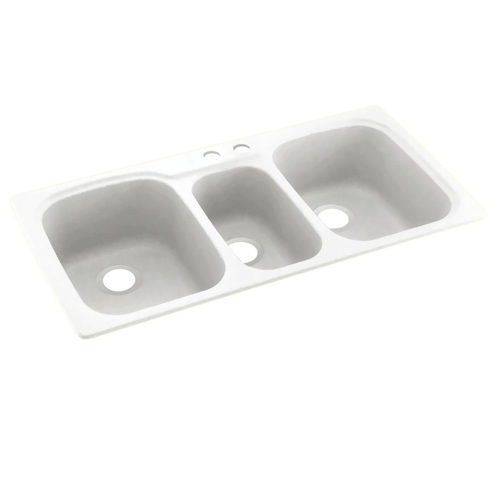 White 44 x 22 Swanstone KS04422TB.010-2 2-Hole Solid Surface Kitchen Sink