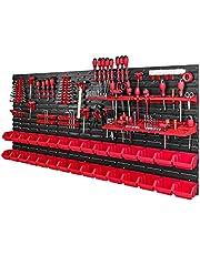 Gereedschapswand met stapelboxen - 1728 x 780 mm - opslagsysteem set gereedschapshouders en 30 stuks doos - wandrek werkplaatsrek gatenwand opbergkast