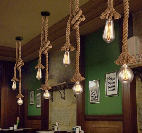 200cm Very long chandelier made of sailing rope for 3 light bulbs ~80