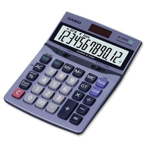 Brand New. Casio Calculator Tax Euro Desktop Battery/Solar 12 Digit 3 Key Memory 122x169x35mm Ref DF120TER