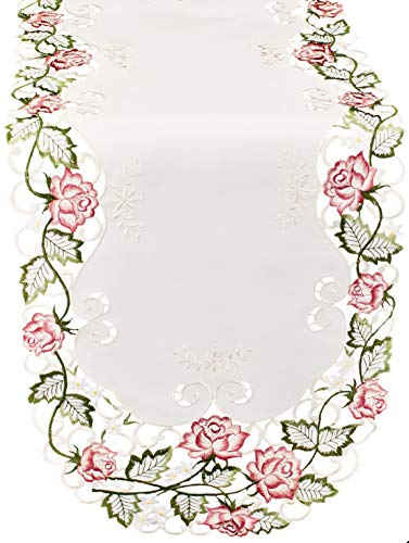 Linens, Art and Things Table Runner Embroidered with Bright Pink Victorian Roses on Ivory Fabric, Size 15 x 44 inches, Dresser Scarf, Coffee Table Runner