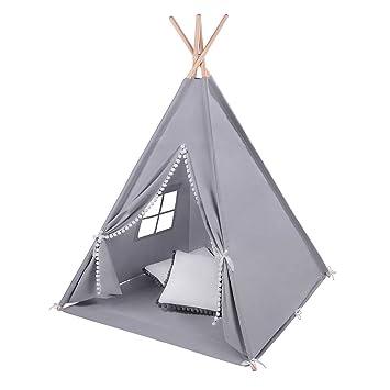 LULANDO TIPI Spielzelt für Kinder Kinderzelt Indianerzelt Zelt Spielhaus  aus 100% Baumwolle inkl. Zeltunterlage und 2x Kissen. Mit dem Standard 100  ...