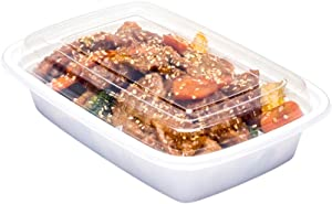 Asporto Microwavable To-Go Container - BPA Free PP Rectangular Take Out Food Container with Clear Plastic Lid - Catering & Takeout - 24 oz - White - Plastic - Disposable - 100ct Box - Restaurantware