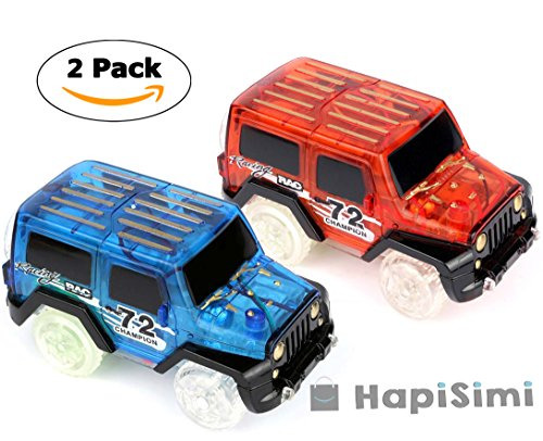 Track Car, LED Light Up Jeep Car (2-Pack), Multi-color LED Light Glow in the Dark Racing Track Accessories Compatible with Most Tracks Including Neo & Magic Track, Boys and Girls (Blue and Red)