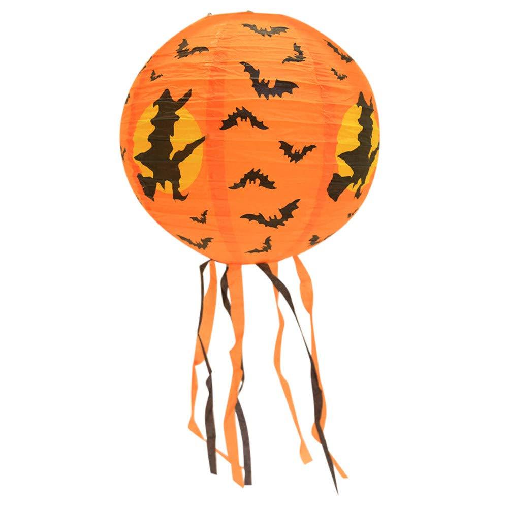 Sikye Paper Lantern,Halloween Hanging Decoration Pumpkin Witch Pattern Lantern DIY Party Home Garden Outdoor Decor (B (30cm))