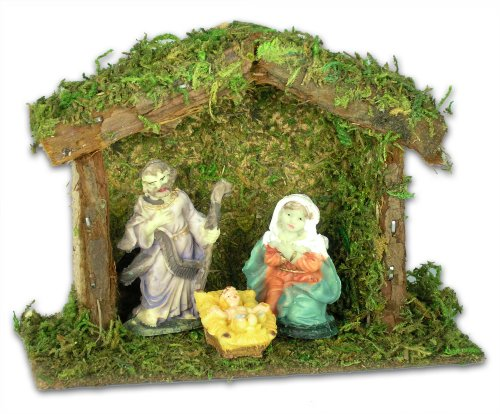 BANBERRY DESIGNS Miniature Nativity Scene with a Small 4-Inch Stable - Mary, Joseph and Baby Jesus - Holiday Tabletop Nativity ()