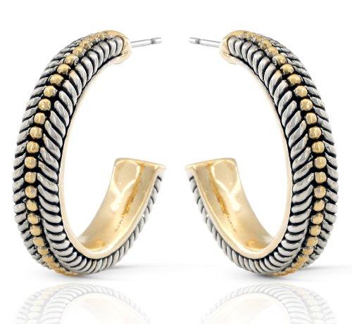 JanKuo Jewelry Two Tone Antique Style Half Semi Hoop Earrings (Two Tone Half Hoop)