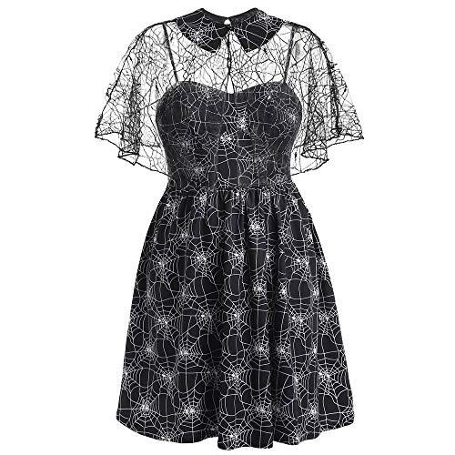 Modern Family Halloween Cheerleader (YOCheerful Suspender Dress Women Plus Size Halloween Party Dress Autumn Cobweb Print Yarn Sleeveless Dress)