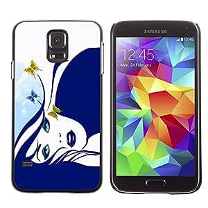 Caucho caso de Shell duro de la cubierta de accesorios de protección BY RAYDREAMMM - Samsung Galaxy S5 SM-G900 - Blue Butterfly Girl