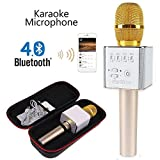Q9 [Upgraded Version] Wireless Microphone with Speaker Karaoke Pro, 3-in-1 2200mAh Bluetooth Aluminium Alloy Karaoke Machine KTV for Apple iPhone Android Smartphone or Pc