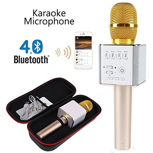 Q9 [Upgraded Version] Wireless Microphone with Speaker Karaoke Pro, 3-in-1 2200mAh Bluetooth Aluminium Alloy Karaoke Machine KTV for Apple iPhone Android Smartphone or Pc by Amazing Grace