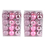 Hot Sale!DEESEE(TM)48PC 30mm Christmas Xmas Tree Ball Bauble Hanging Home Party Ornament Decor (Pink)