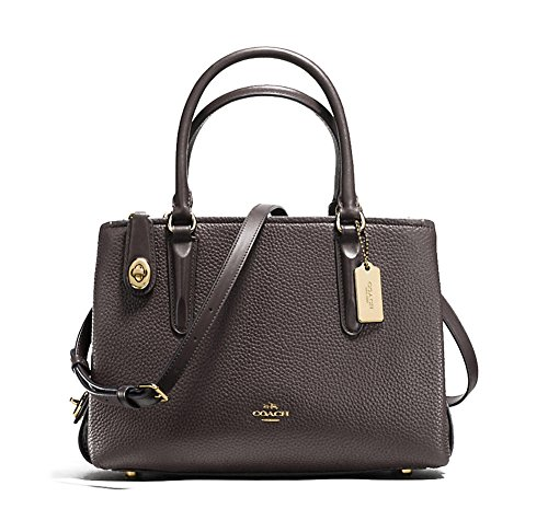 Chestnut Carryall COACH Li Pebbled Brooklyn Womens 28 BaBOnYxf1q