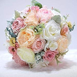 TONGxo Wedding Bouquet Simulation Silk Flowers Bridesmaid Bridal Artificial Bouquets Customization Wedding Holding Bouquet Home Decoration Champagne Powder (25cm) 114
