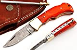 RA-5167-O Custom made damascus steel folding lock back knife orange wood handle and brass bolster, For Sale