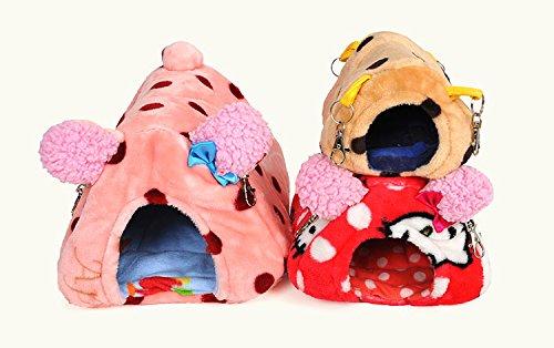 Fully Sleeping Bag Pet Beds Cave Mat Cozy Warm House Hanging Hammock Warming Sack for Chinchilla Hamster Rabbits (color random) (XL (20x24x16cm); For cavy,rabbit, Random)