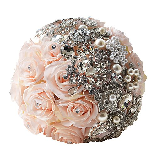 KUKI SHOP Handmade Romantic Satin Roses Crystal Rhinestones Wedding Brooch Bouquet Bridal Holding Bouquet Bridal Throw Bouquet Bridesmaid Bouquet Wedding Decoration Flowers (Light Coral)