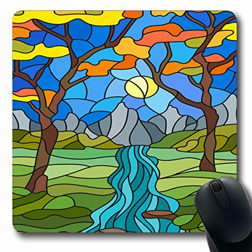 LifeCO Computer Mousepad Glass Green Autumn Stained Rocky Creek Abstract Batik Branch Bush Circuit Design Part Oblong Shape 7.9 x 9.5 Inches Oblong Gaming Non-Slip Rubber Mouse Pad Mat