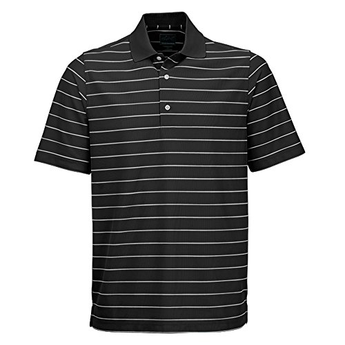 Greg Norman Protek Micro Pique Stripe Polo, Black/White, Large - Micro Stripe Polo