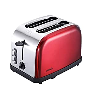 2 Slice Toaster, Stainless Steel toaster Automatic, 2 Piece Home Breakfast Bread Machine,Red,650W