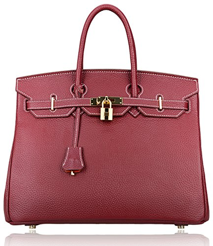 Pifuren Genuine Leather Tote Ladies Padlock Handbags With Gold Hardware  30Cm 11 8   Dark Red