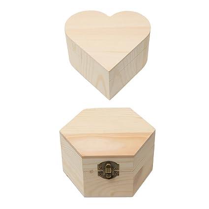 Baoblaze 2 Unids Cajas de Madera de Forma Corazón,Hexágono Regalos para Familia y Amigos