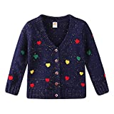 Mud Kingdom Girls Cardigan Sweaters Cute Colorful Love 3T Navy Blue