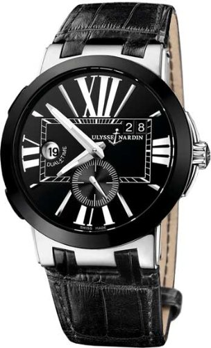 Ulysse Nardin Executive Dual Time Automatic Black Leather Mens Watch 243-00-42 ()