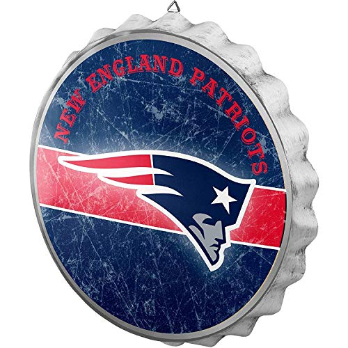 FOCO NFL New England Patriots Metal Distressed Bottlecap Wall Signmetal Distressed Bottlecap Wall Sign, Team Color, One Size
