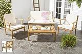 Safavieh Outdoor Living Collection Bradbury 4-Piece Outdoor Living Set, Teak Brown