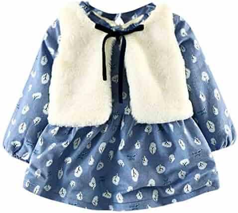 52dd9ceda5 Kehen Infant Baby Toddler Girl Floral Faux Fur Vest Princess Dress Set Warm  Outftis