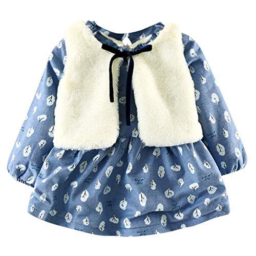 Kehen Infant Baby Toddler Girl Floral Faux Fur Vest Princess Dress Set Warm Outftis Blue 18-24 Months]()