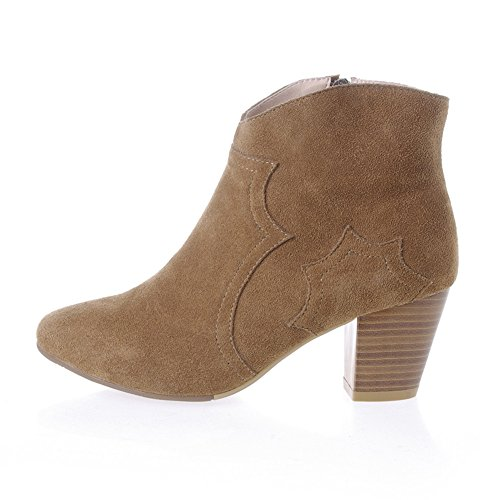 Dress Round Nine Side Womens Seven Boot Tone Booties Suede Ankle Almond with Chunky Heel Zip f88XrHqwx