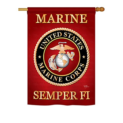 Breeze Decor - Marine Corps Americana - Everyday Military Impressions Decorative Vertical House Flag 28
