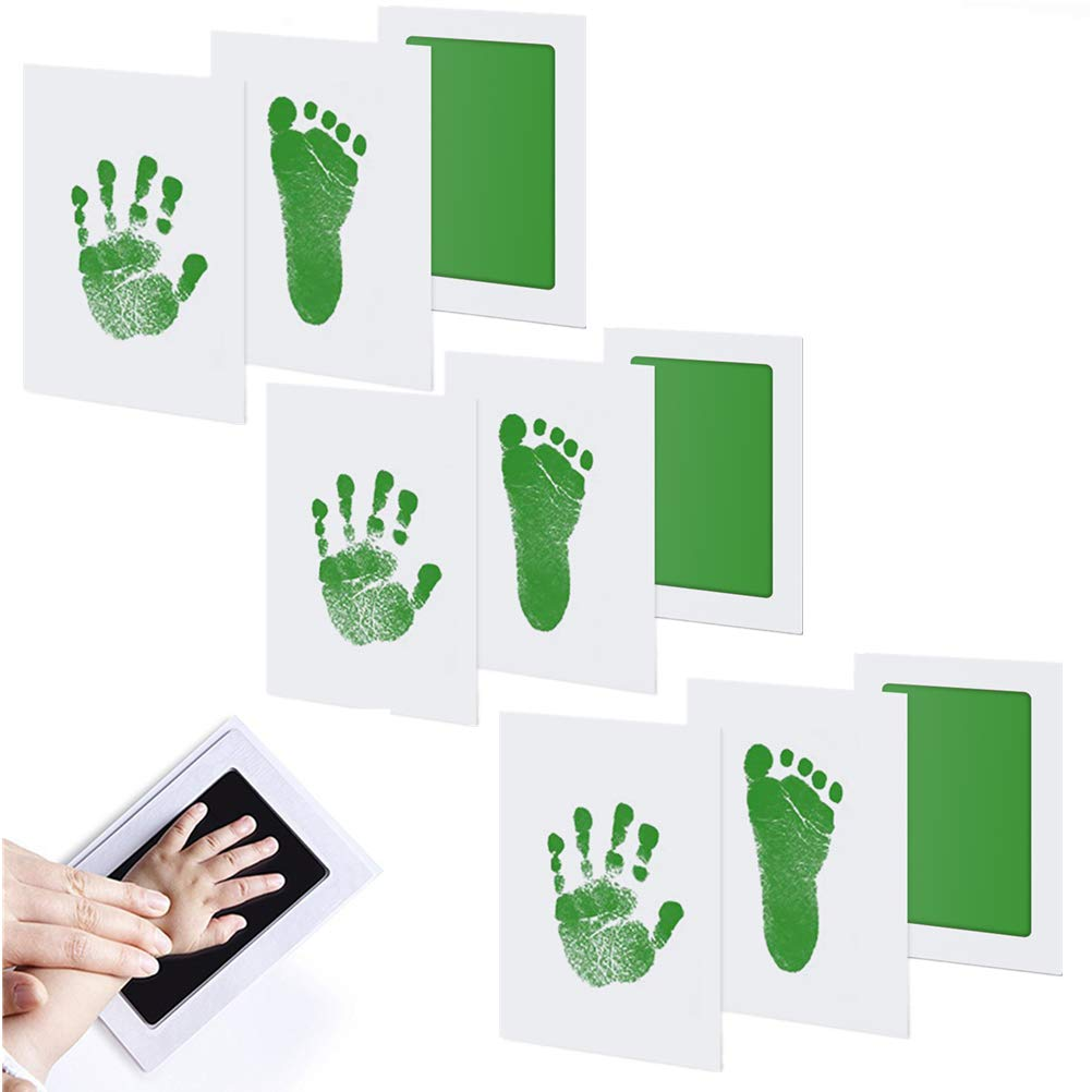 Poluka 3Pcs Baby Handprint/&Footprint Ink Pads Without Ink-Touch,3 Ink Pads+6 Imprint Cards Safe Non-Toxic Print Kit for Baby Shower Gift Keeping Baby Memory DIY Family Photoes-Pink